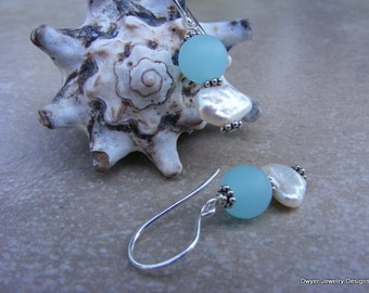Keishi Pearl Earrings with Sea Glass Style Beads.