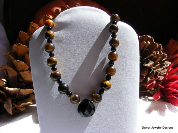 Black Onyx with Cat's Eye and Tiger Eye Autumn Necklace.  Fall. Orange. Black.