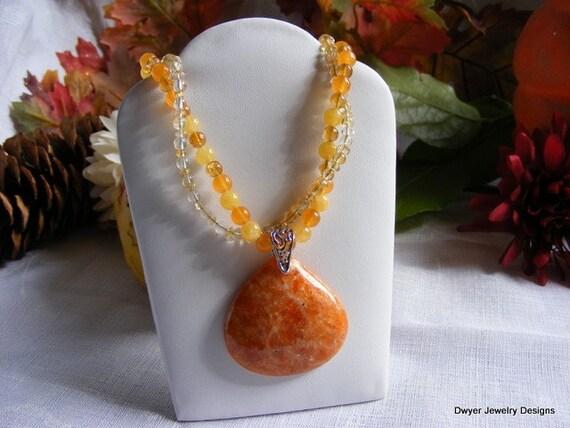 Orange Calcite Necklace with Mandarin Jade. Summertime. Anytime. Fall. Spring. Handmade. Lovely.