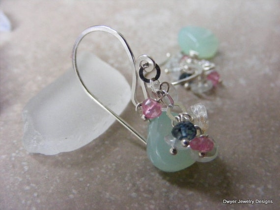 Aqua Chalcedony with Aqua Marine and Blue and Pink Topaz Earrings.