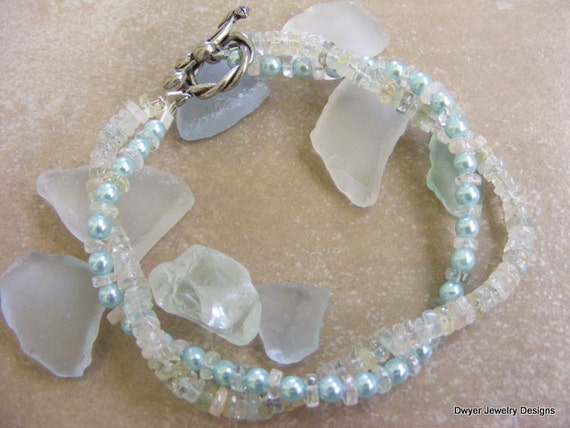 Aquamarine and Blue Fresh Water Pearl Bracelet