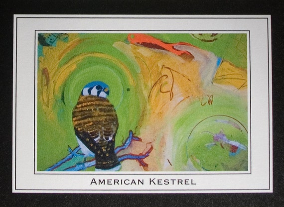 Kestrel on Abstract Blank Note Cards Set of 4