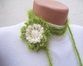 SALE % 20 - Was 18 Now 14,4-  Hand crochet Lariat Scarf Green Cream Flower Lariat Scarf  Long Necklace Holiday Accessories - nurlu