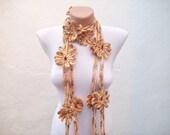 Crochet Flower Necklace Scarf,Lariat Scarf,Flower Scarf,Women