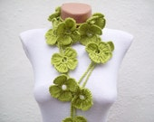 Clover Crochet Scarf,Shamrock Scarf,Lariat Scarf,Green Flower