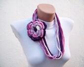 Crochet infinity Scarf,Flower Brooch Pin,Chain Scarf,Loop