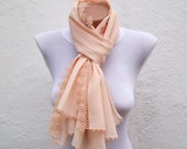 Traditional Turkish Fabric Scarf-Peach-Shawl-Handmade  Needle Lacework