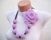 Felted Flower   Necklace Lilac Fall Fashion Holiday Accessories Spring Celebrations