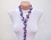 Handmade Authentic crochet Oya Bracelet -Necklace-Purple  White