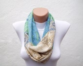 SALE %20 - Was 14 Now 11,2-infinity scarf Loop scarf Neckwarmer Necklace scarf Fabric scarf green  blue cream