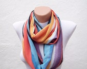 SALE %20 - Was 14 Now 11,2-infinity scarf Loop scarf Neckwarmer Necklace scarf Fabric scarf colorful orange purple blue