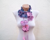Handmade crochet Lariat Scarf blue pink lilac orange  Flower Lariat Scarf Colorful Variegated Long Necklace Winter Fashion