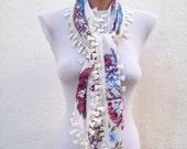 Handmade Traditional Turkish Fabric Scarf-Guipure Scarf -cream blue burgundy green
