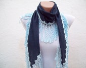 Handmade Traditional Turkish Fabric Scarf-Guipure Scarf -dark blue -blue