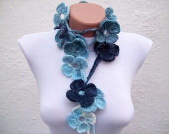 Crochet Scarf, Lariat Crochet Flower Long Necklace, Blue Darkbule, Skinny jewelry, Women Accessories,Colorful Scarves,