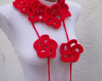 Hand crochet Lariat Scarf Red Flower Lariat Scarf Long Necklace Holiday Accessories Spring Celebrations women scarf Valentines gift