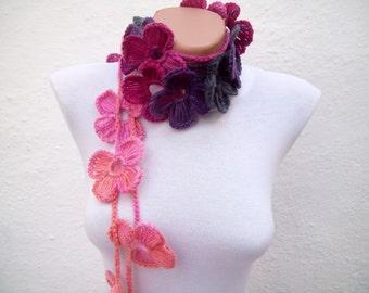 Bohemian Crochet Scarf, Lariat Scarves, Flower Accessories, Crochet Belt, Crocheted Jewelry, Long Floral Woman Necklace, Pink Purple Peach