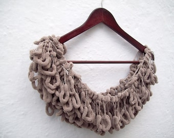 Pom pom Crochet Scarf, Crocheted  Long Scarf, Mulberry Scarf, Pompom, Ponpon, Pon pon, Brown, Women Neck Accessories, Neckwarmer