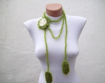 Hand crochet Lariat Scarf Green Cream Flower Lariat Scarf  Long Necklace Holiday Accessories women scarf mothers day