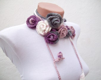 Scarf,Crochet belt,Lariat Scarf,Flower Scarf,Necklace Scarf