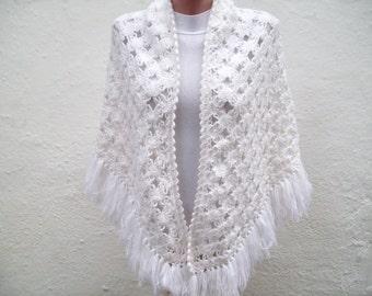 Shawl,Cowl,Scarf,Shawl Triangle White,Crochet Shawl,Wraps Shawls