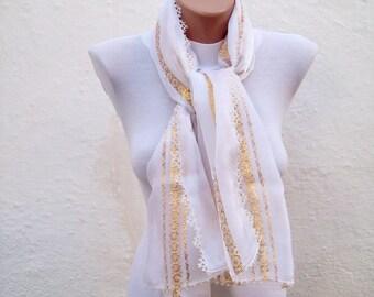 Traditional Turkish Fabric Scarf-White-Shawl-Handmade  Needle Lacework  women scarf mothers day