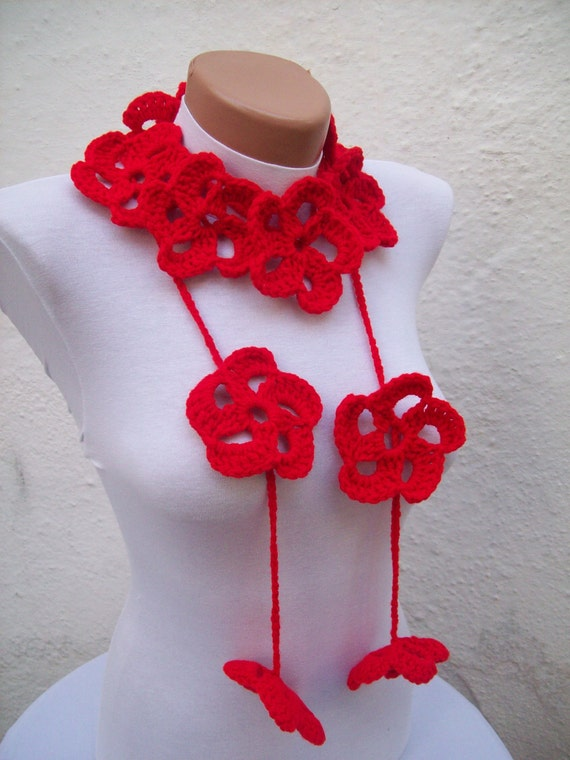 Red Crochet Scarf, Flower Scarves, Lariat Accessories, Spring Jewelry, Crocheted Necklace, Floral Women Foulard, Large Flower Necktie