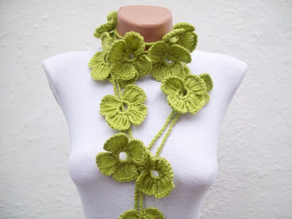Hand crochet Lariat Scarf Green Flower Lariat Scarf Long Necklace Holiday Accessories Spring Celebrations  women scarf mothers day