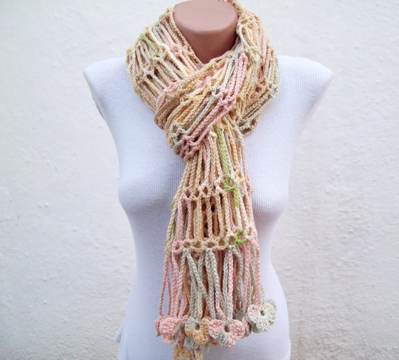 Hand crochet  Scarf  Variegated colorful Cream Green Pink  Holiday Accessories
