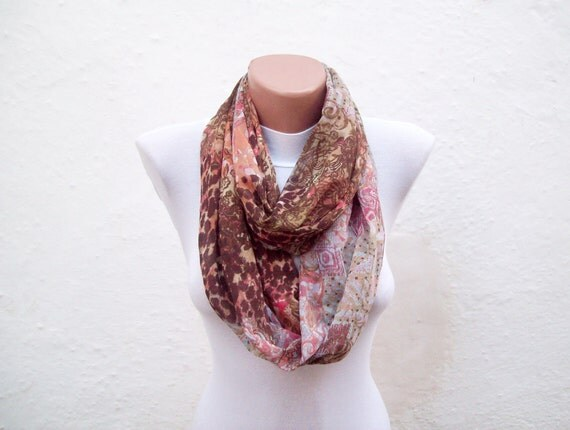 infinity scarf Loop scarf Neckwarmer Necklace scarf Fabric scarf   Brown Pink Blue