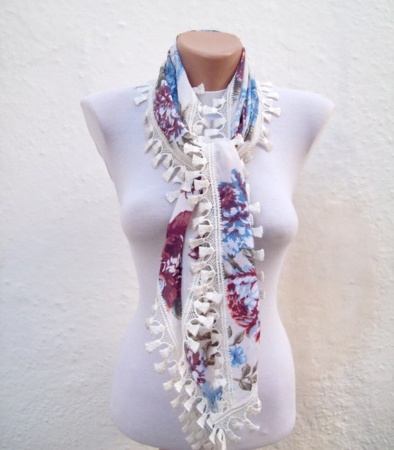 Handmade Traditional Turkish Fabric Scarf-Guipure Scarf -cream blue burgundy green