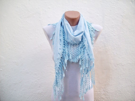 Handmade Traditional Turkish Fabric Scarf-Guipure Scarf -blue