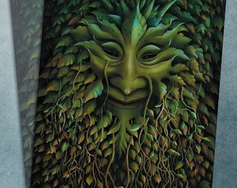 postcard - Green Man Art card by John Emanuel Shannon