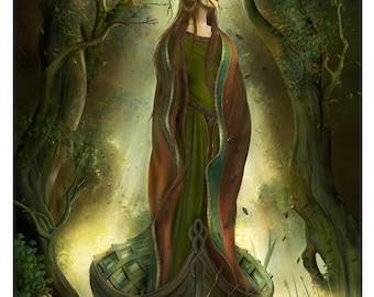 Art Print - Lady Avalon arthurian celtic 11.7x16.5 print by John Emanuel Shannon