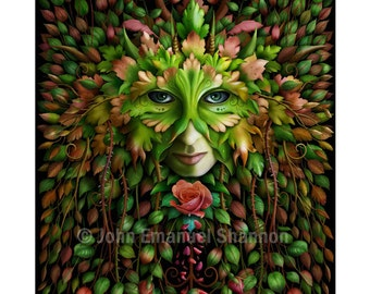 Art Print - Green Woman - A3 (11.7x16.5) print by John Emanuel Shannon