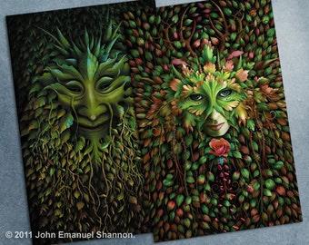 postcard set - 2 Fantasy Art Cards Green Man and Green Woman by John Emanuel Shannon
