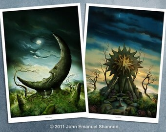 Art Print Set - Moon Stone and Sun Stone A3 (11.7x16.5) prints by John Emanuel Shannon