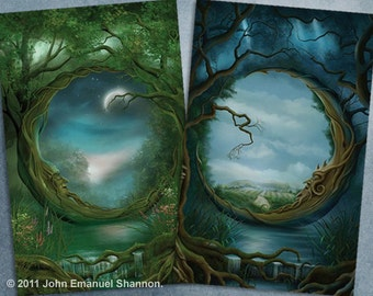 Postcard set - 2 Fantasy Art Cards Day and Night/Night and Day by J E Shannon