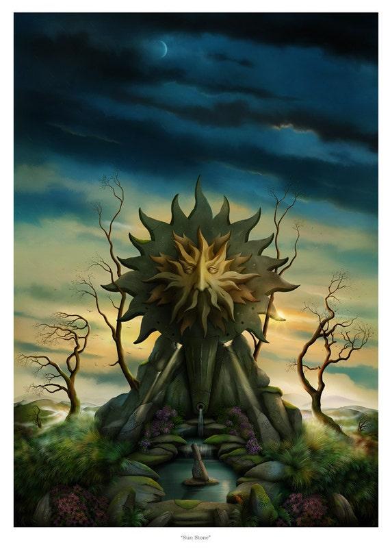 Art Print - Sun Stone in Celtic Landscape A3 (11.7x16.5) print by John Emanuel Shannon
