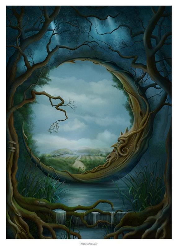Art Print - Night and Day - Moon Tree A3 (11.7x16.5) print by John Emanuel Shannon