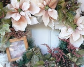 RESERVED for Michelle Bugge Christmas Classy Peach Framed Holiday Poinsettia N Pinecones Wreath 26 x 29 x 10 was 89 now 72