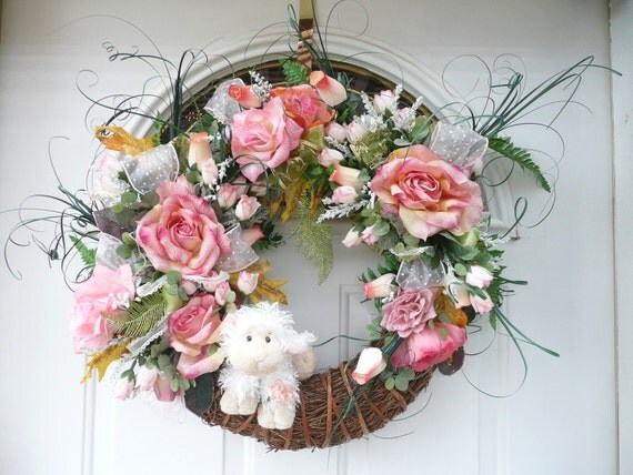 OOAK Sweet Spring Pink Green Sage White Elegant Easter Lamb Rich in Roses Wreath 31 x 25 x 7