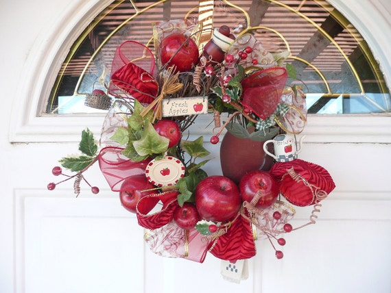 Ooak country red apple wreath home decor 13 by for Apple home decoration