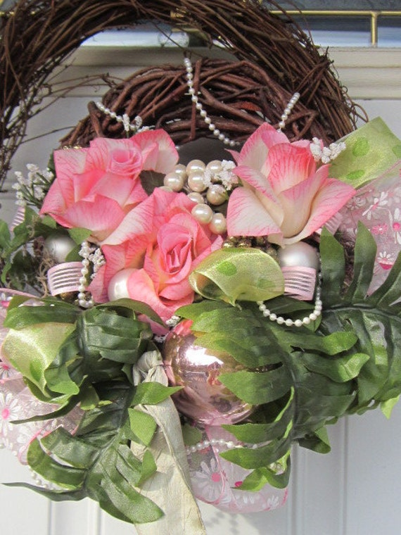 RESERVED for Michelle Bugge Gorgeous Spring Year Round Frilly Delight Front Door Home Decor Gift 19 x 12 x 6