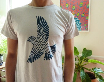 SPECIAL:  XL only Teal Turquoise Bird T-Shirt Men Unisex