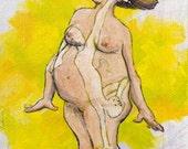 Gettin Comfy - 4x6 Card for Pregnancy / Birth