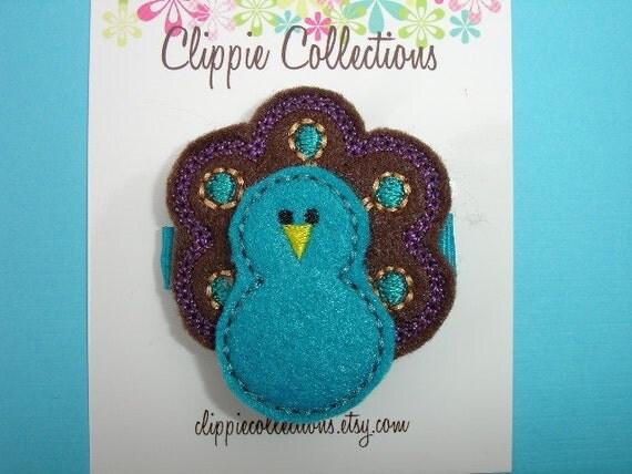 Pretty Peacock clippie - peacock teal turquoise brown hair clip - no slip