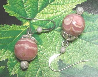 Pink Rhodochrosite Sterling Silver Earrings Handmade OOAK - Blushing Bride - Dangle Earrings Wedding Jewelry Fashion Pink Stone Earrings