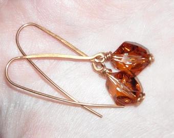 Swarovski Crystal Earrings Copper Wire Wrapped Dangle Earrings Earthy Handcrafted Earrings Sparkly Copper Brown Earrings Crystal Earrings
