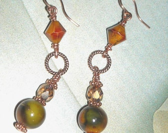Autumn Beads And Copper Earrings- Shades of Fall -Handmade Copper Earrings Orange Earrings Green Brown Golden Yellow Dangle Earrings
